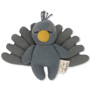 Doudou hochet Peacock - Bleu