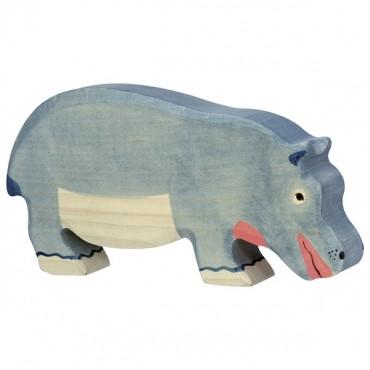 Animal en bois - Hippopotame mangeant