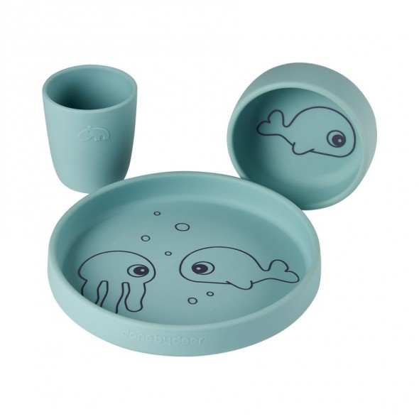 Set de vaisselle en silicone -Sea Friends, blue
