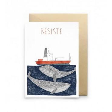 Carte double- Résiste (blanc)