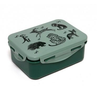 Lunch box - Black animals (green)
