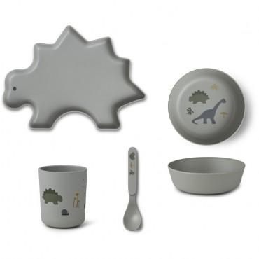 Set de vaisselle en bambou - Dino (dove blue)