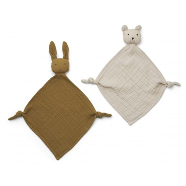 Set de 2 mini doudous langes Yoko - Olive green/sandy