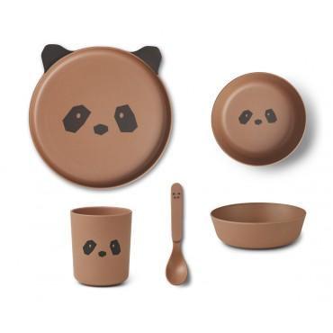 Set de vaisselle en bambou - Panda (tuscany rose)