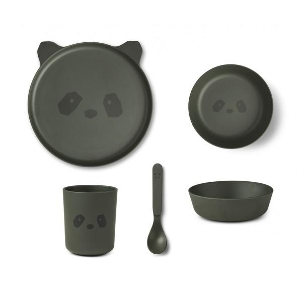 Set de vaisselle en bambou - Panda (hunter green)