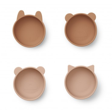 Pack de 4 bols Iggy en silicone - Tuscany rose