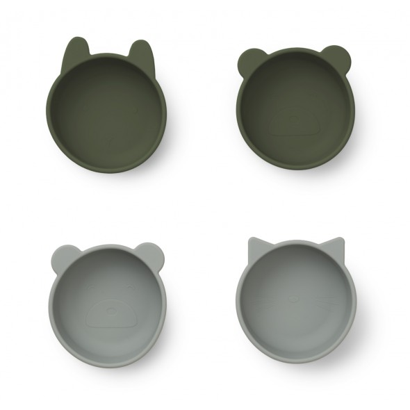Pack de 4 bols Iggy en silicone - Hunter green