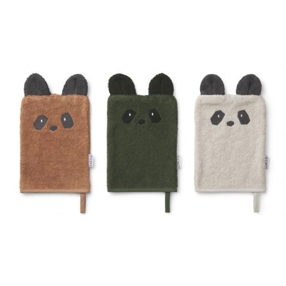 Set de 3 gants de toilette Sylvester - Panda