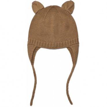 Bonnet en tricot Violet - Camel