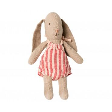Petite poupée lapin - Rayé rouge (Micro)