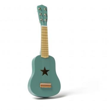 Guitare en bois - Bleu vert