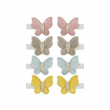 8 barrettes clip - Papillons en velours
