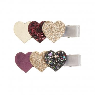 2 barrettes clip - Coeurs pailletés