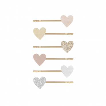 6 barrettes épingles - Amour coeur