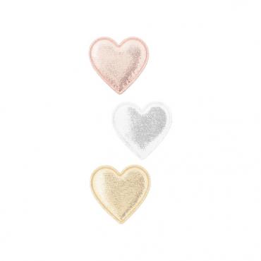 3 barrettes clip - Coeur métallique