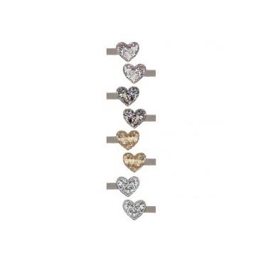8 barrettes pinces croco - Coeur glitter