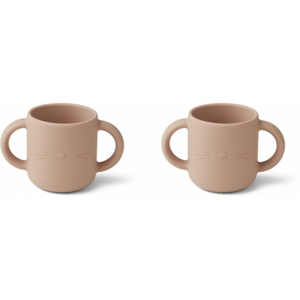 Set de 2 tasses en silicone Gene - Cat (rose)