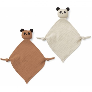 Set de 2 mini doudous langes Yoko - Panda (Tuscany rose / sandy)