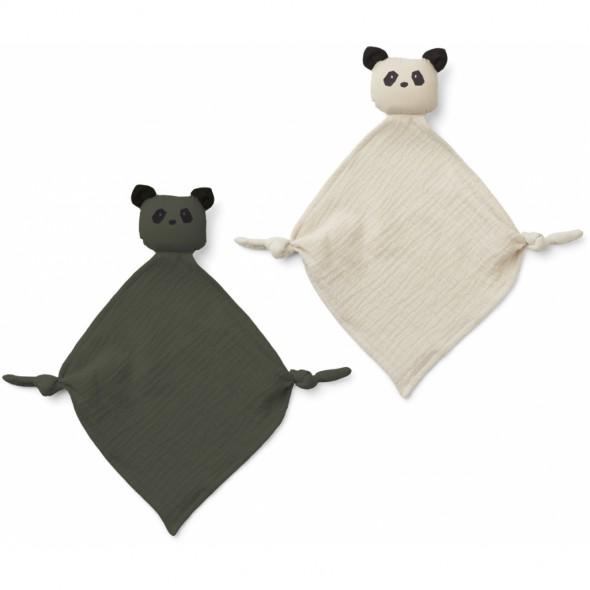 Set de 2 mini doudous langes Yoko - Panda (Hunter green / sandy)
