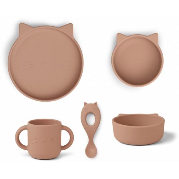 Set de vaisselle Vivi en silicone - Cat (dark rose)