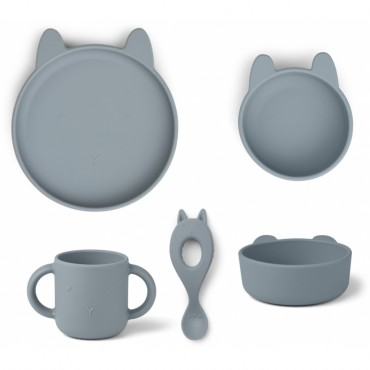 Set de vaisselle Vivi en silicone - Rabbit (sea blue)