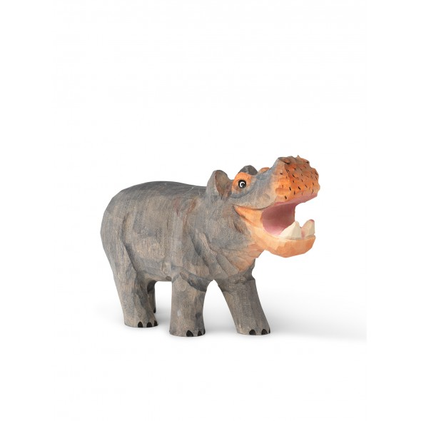 Animal sculpté en bois - Hippopotame