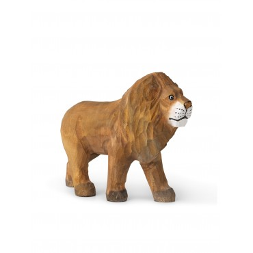Animal sculpté en bois - Lion