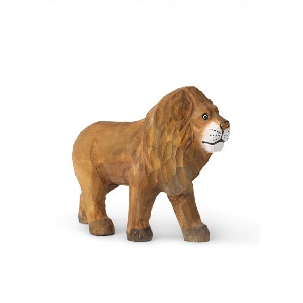 Animal sculpté en bois - Lion