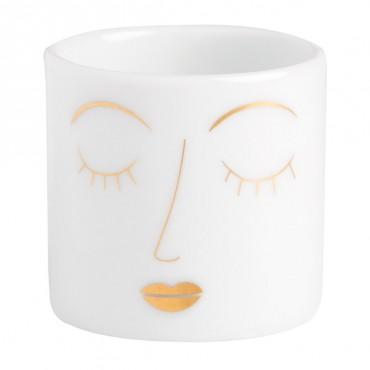 Petit photophore en porcelaine - Visage