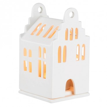 Petit photophore en porcelaine - Maison avec toit à 2 pans