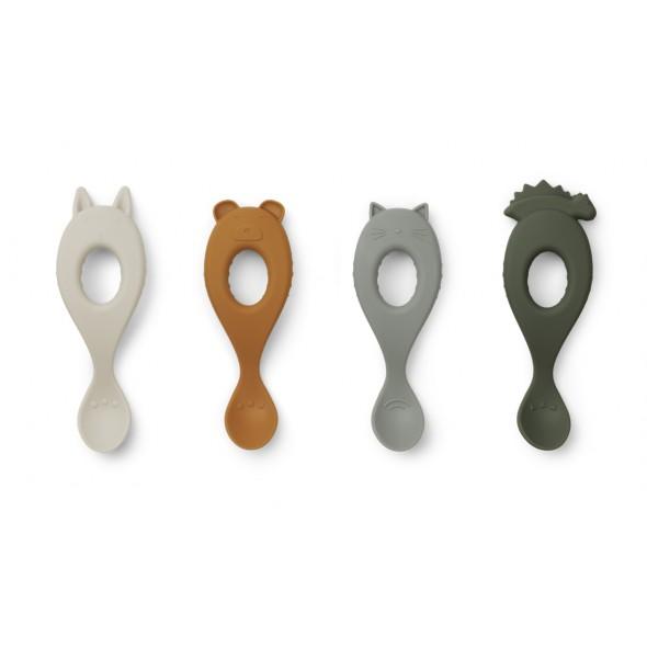 Set de 4 cuillères en silicone Liva - Hunter green mix