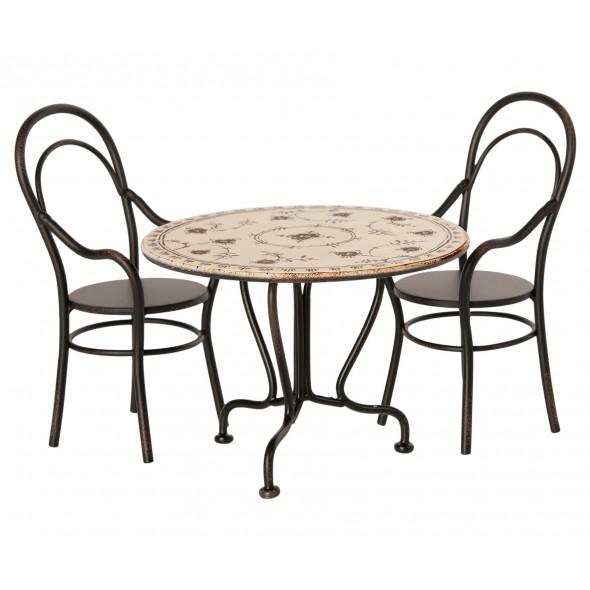 Ensemble table à diner + 2 chaises miniatures