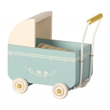 Landau en bois pour bébé souris/lapin (MY) - Bleu