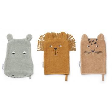 Set de 3 gants de toilette Sylvester - Safari