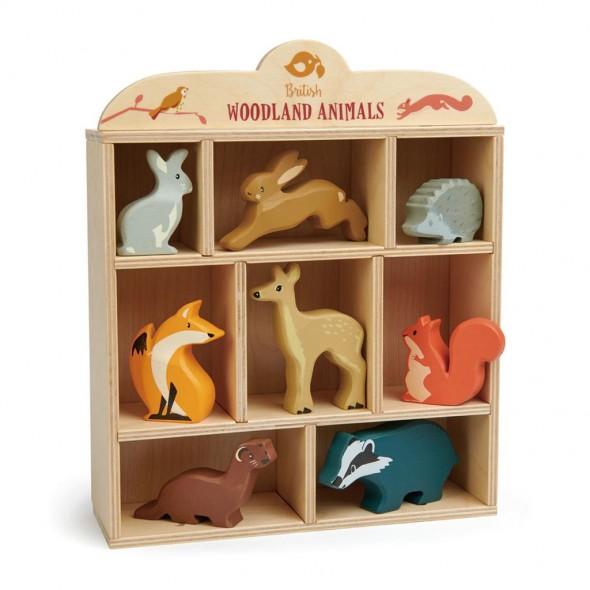 Coffret étagère avec 8 animaux en bois