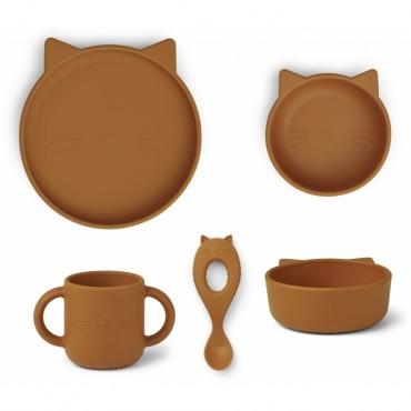 Set de vaisselle Vivi en silicone - Cat (moutarde)