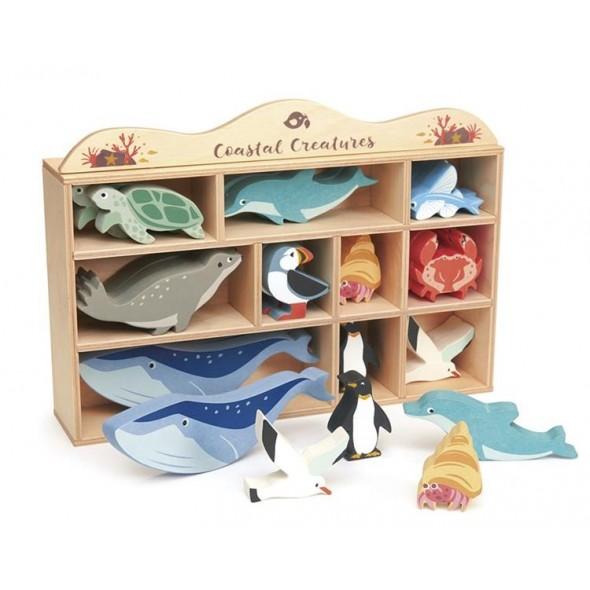 Coffret étagère avec 10 animaux marins