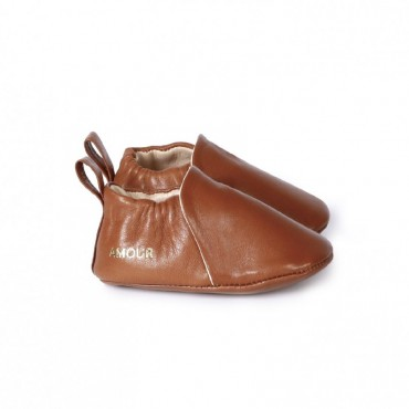 Chaussons en cuir Amour - Chocolat