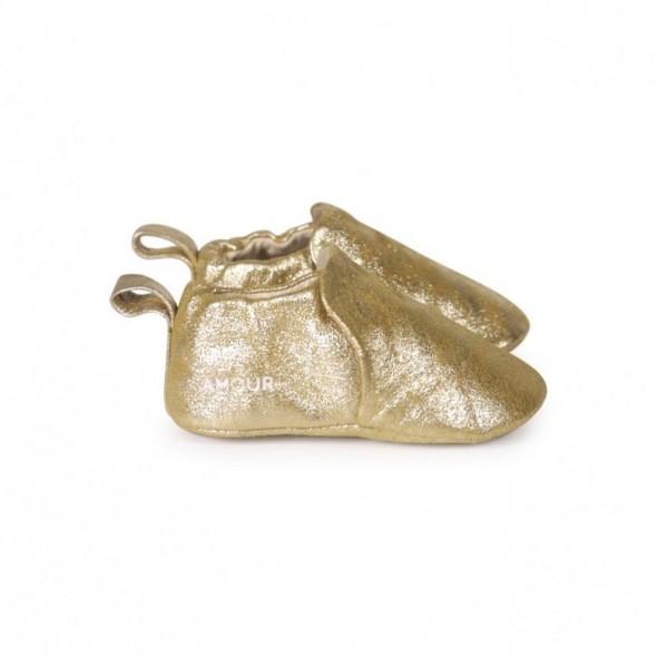 Chaussons en cuir Amour - Poudre or
