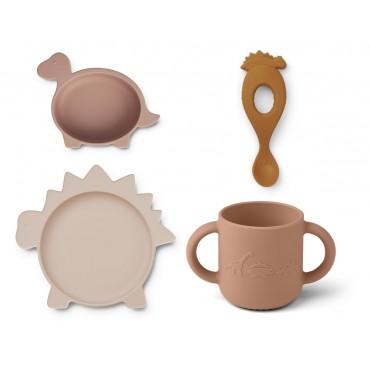 Set de vaisselle Vivi en silicone - Dino (rose)
