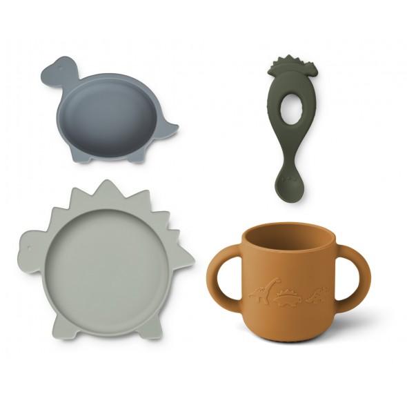 Set de vaisselle Vivi en silicone - Dino (bleu)