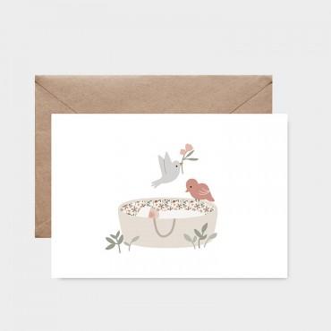 Carte postale - Sur mon berceau rose
