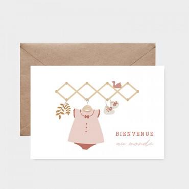 Carte postale - Bienvenue au monde (rose)