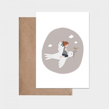 Carte postale - L'enfant et l'hirondelle (gris rosé)