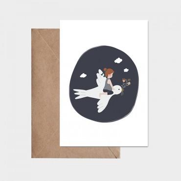 Carte postale - L'enfant et l'hirondelle (bleu)