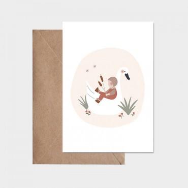 Carte postale - L'enfant et le cygne (rose)