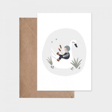 Carte postale - L'enfant et le cygne (bleu)