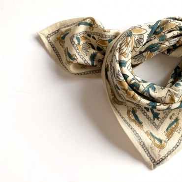 "Foulard Manika ""Bird"" - Sable"