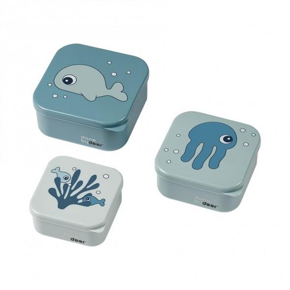 Set de 3 boites à goûter - Sea friends (bleu)
