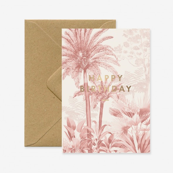 Carte double - Happy Birthday Pink Forest